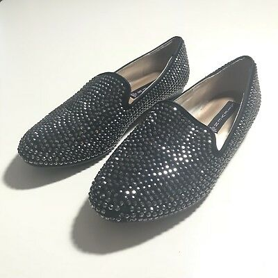 4d141e83617 STEVE MADDEN WOMENS Conncord Jeweled Slip On Shoes Size 7.5M Black Loafers