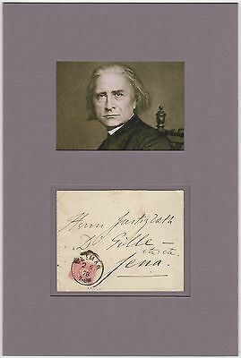 Franz Liszt (composer) – autographed envelope matted with photograph
