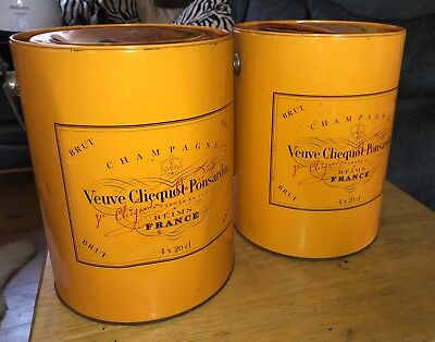 Veuve Clicquot Ponsardin Brut Champagne Orange Bucket Paint Pot Traveller Tin X2