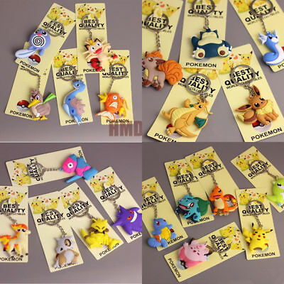 Pokemon Keychain Figure PVC 3D Pocket Monster Pikachu Pendant Key Chain Toy Gift
