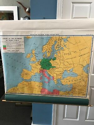 Vintage Pre Europe WW II Color Relief Wall Map Rare Knowlton Wallbank USSR