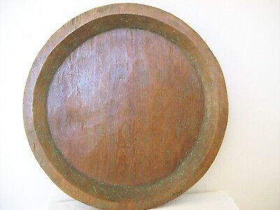 ** VERY LARGE ANTIQUE WOODEN HAND CARVED DOUGH BOWL ** (circa 1890s)