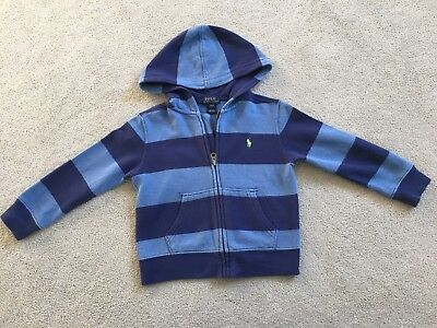 Boys Ralph Lauren Polo Blue Striped Hooded Sweater Age 3 Years