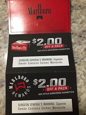 10 - Marlboro Coupons $2.00 Off A Pack - Total Savings $20.00 Expires 4-30-19