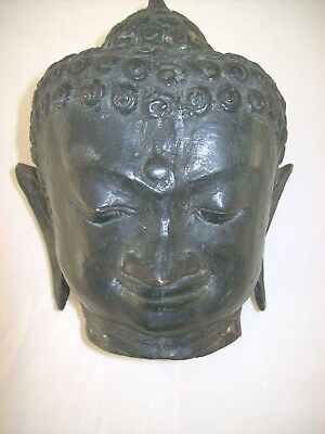 ** ANTIQUE BRONZE LADY BUDDA HEAD ** (circa 1890)