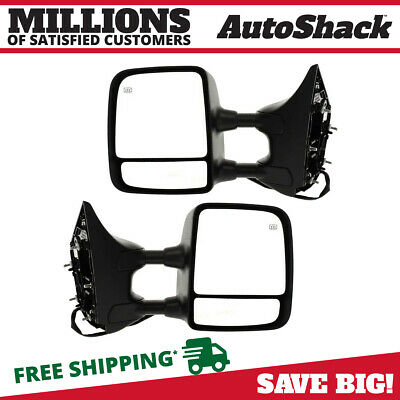 Pair (2) Power Heated Folding Textured Side View Mirror Fits 06-14 Nissan Titan