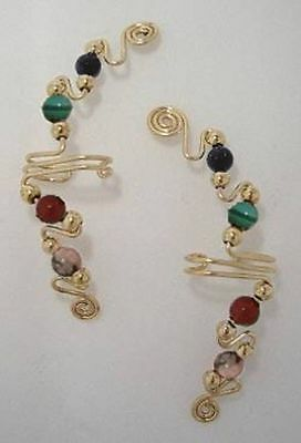 Ear Wraps Cuffs Climbers Earrings Gold wtih Assorted Gemstone Beads 170-G50,44+