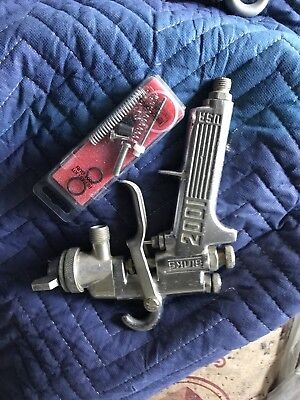 Binks Model 2001 Paint Spray Gun Nice Condition with  Repair Kit