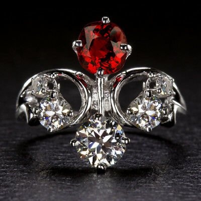 Rare Vintage Diamond Red Spinel Certified Art Nouveau Ring Cocktail Antique Ruby