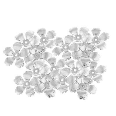 30Pc Silver Metal Hollow Filigree Flower Spacer End Bead Caps Jewelry Charms