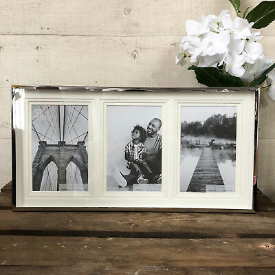 Chrome Multi Freestanding Triple Family Picture Collage Home Display Photo Frame