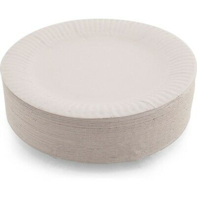 """Paper Plates Party Round Disposable 7"""" 9"""" White Wedding Birthday Occasions"""