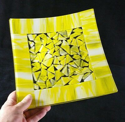 "Matching Pair Handcrafted Plates Fused Art Glass Neon Yellow & White 8 7/8""Sq NM"