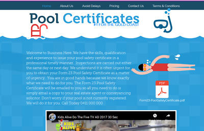 Website Ready - Website For Sale. Pool Safety Certificate Website. Limited Time