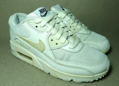 new styles 1b0e1 ed778 NIKE AIR MAX 90 GS Girls Junior White/Metallic Leather Trainers UK 4 ...