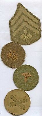 WWI WW1 AEF Patch Collection-Signal Corps Corporal, PFC, Artillery LOT OF 4 PCS