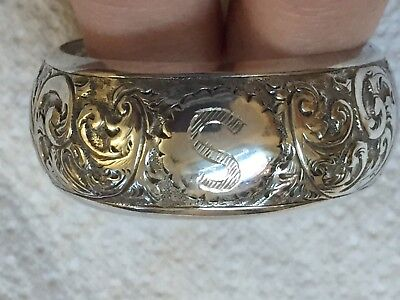 Beautiful Antique Silver Napkin Ring Engraved 'S'