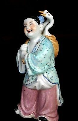 ANTIQUE CHINESE FIGURE PORCELAIN STATUE Girl w Goose Birds marked signed