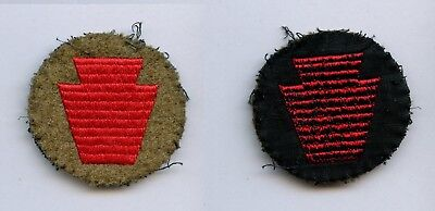 """WWI WW1 AEF Patch Collection-28th Division SMALL on OD WOOL DISC Embroidered 2"""""""