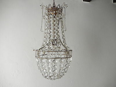 ~c 1930 French Beaded Empire Murano Drops & Crystal Prisms Basket Chandelier~
