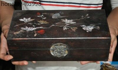 Old China Rosewood Wood Inlay shell carving flower bird statue Storage box boxes