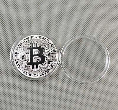 Fine Silver Plated Commemorative Bitcoin Collectible Golden Iron Miner Coin