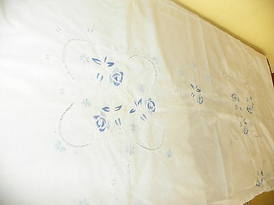 """Gorgeous Blue & White Embroidered Table Cloth-Oval-68"""" By 66""""-Free Shipping!"""