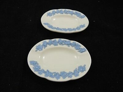 """Set Of 3 Wedgwood Embossed Queensware 2 White Blue Small Oval Ashtray 4 1/2"""""""