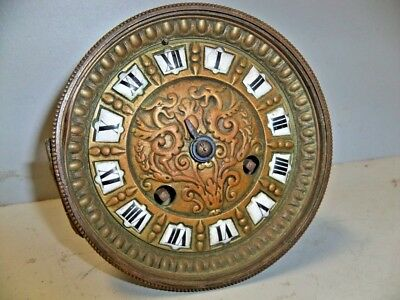 Antique French Clock Movt W Enamel Numbers & Dragons On Dial