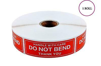"1 Roll 1000 Stickers Labels 1"" x 3"" DO NOT BEND HANDLE WITH CARE / Easy Peel"