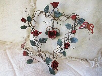 Vintage Toleware Roses Wreath Chippy Metal Tole Heart Grapevine Butterflies 13in