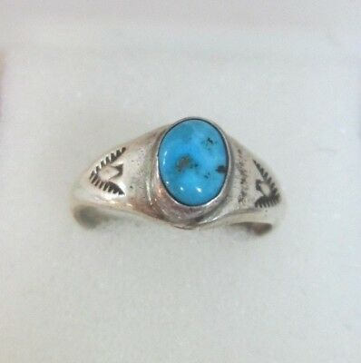Old Pawn Native American Turquoise Thunderbird Sterling Silver Ring Size 9