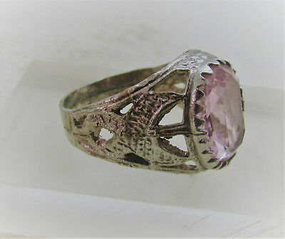 Beautiful Post Medieval Antique Silvered Ring With Pink Stone Inset