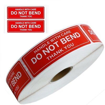 "DO NOT BEND STICKER HANDLE WITH CARE 1"" x 3"" STICKERS ROLLS & FAST SHIPPING"