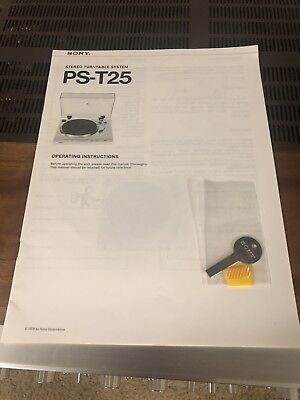 "sony ps-t25 Turntable manual and ""key"""