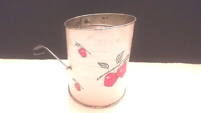 Vintage Bromwell's 3 Cup Flour Sifter, White Red Apples. Wood Handle Looks New