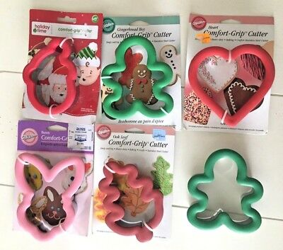 Lot Of 6 Wilton Comfort Grip Cookie Cutters Christmas Fall Easter