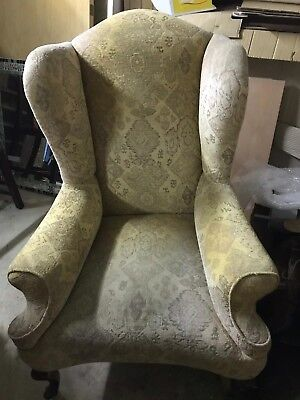 Antique Georgian wing back armchair on ball & claw feet in distressed state chic