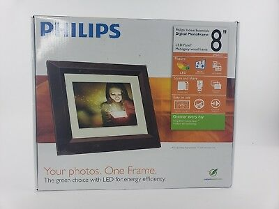 "Philips 8-Inch Digital PhotoFrame SPF3482/G7 8"" LED Panel Mahogany Wood Frame"