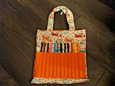 Hand Crafted Reversible Bag Campervan And 12 Coloured Pencils  New