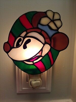 Dale Tiffany Disney Mickey Mouse Stained Glass Wall Plug Electric Night Light