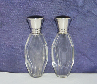 RARE MATCHED PAIR SOLID SILVER TOPPED SCENT BOTTLES by JAMES DEAKIN~B'HAM 1923