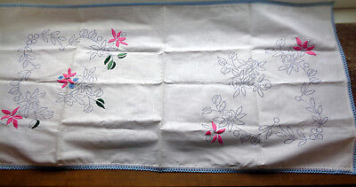 Vintage Runner Transfer Printed Flowers to Complete Embroidery Blue Crochet Edge