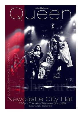 Queen - Limited Edition (50) Giclée Print - City Hall, Newcastle 7th Nov 1974