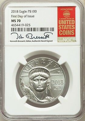 2018 Platinum Eagle P$100 MS-70 (First Day of Issue) Ken Bressett Signed