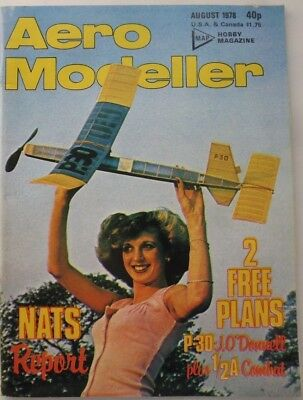 AERO MODELLER  AUGUST 1978 - Vintage Model Aircraft Magazine, With Plans.