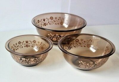 Vintage Pyrex Amer birds Flower Clear Glass Mixing Bowl Set Of 3 1980's