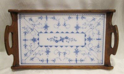 Antique Blue White STRAWFLOWER German Porcelain and Wood Serving Tray