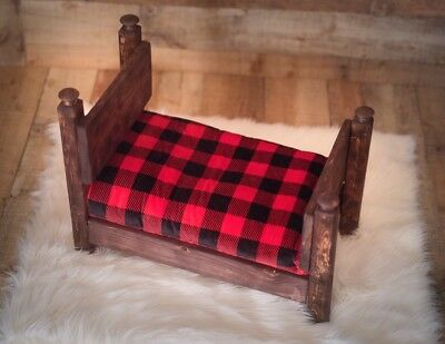Newborn Photography Bed (PROP) With Red Mahogany Finish
