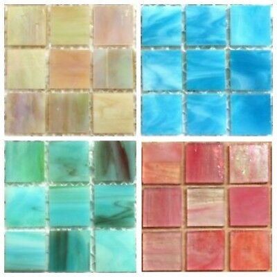 20mm Square Tiffany Stained Glass Mosaic Tiles - Variety of Colours (25 Tiles)